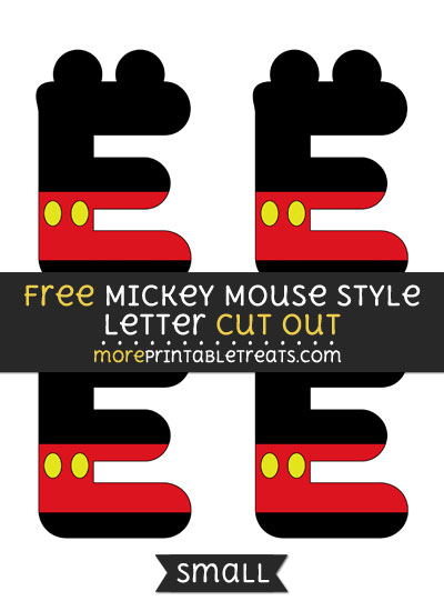 Free Mickey Mouse Style Letter E Cut Out - Small Size Printable