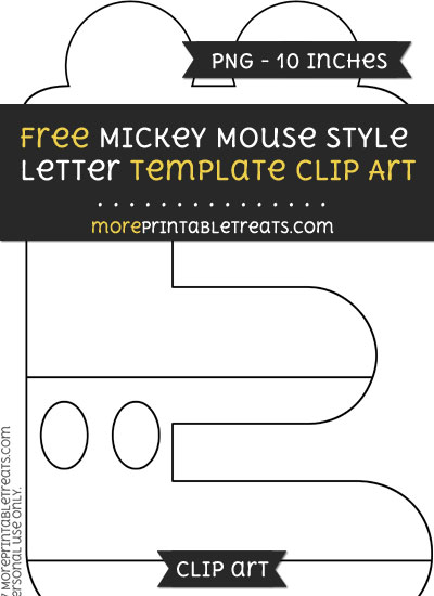 Free Mickey Mouse Style Letter E Template - Clipart
