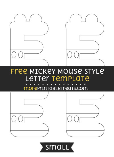 Free Mickey Mouse Style Letter E Template - Small