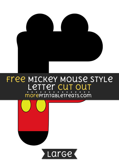 Free Mickey Mouse Style Letter F Cut Out - Large size printable