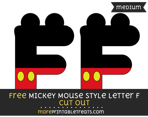 Free Mickey Mouse Style Letter F Cut Out - Medium Size Printable