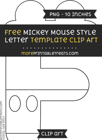 Free Mickey Mouse Style Letter F Template - Clipart