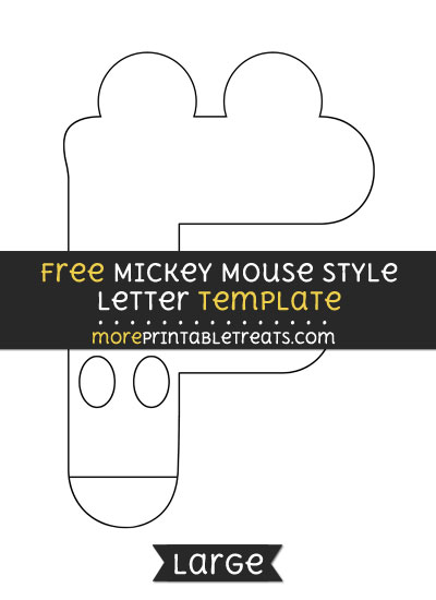 Free Mickey Mouse Style Letter F Template - Large