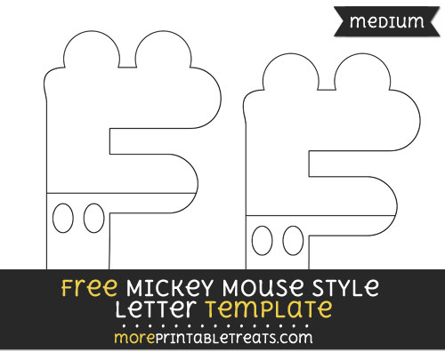 Free Mickey Mouse Style Letter F Template - Medium