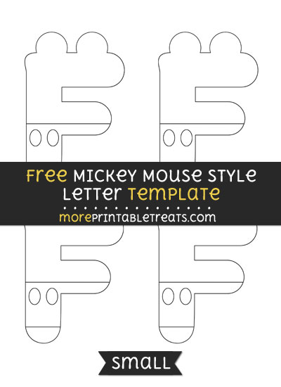 Free Mickey Mouse Style Letter F Template - Small