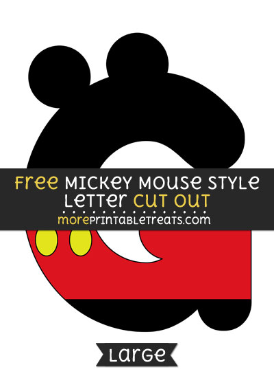 Free Mickey Mouse Style Letter G Cut Out - Large size printable