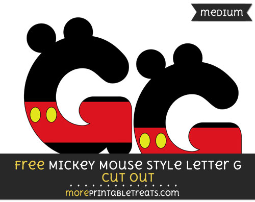 Free Mickey Mouse Style Letter G Cut Out - Medium Size Printable
