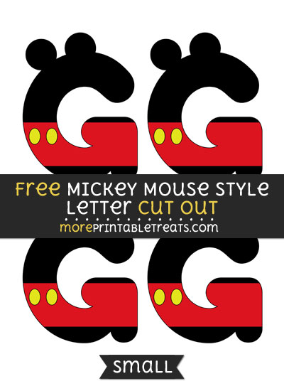 Free Mickey Mouse Style Letter G Cut Out - Small Size Printable