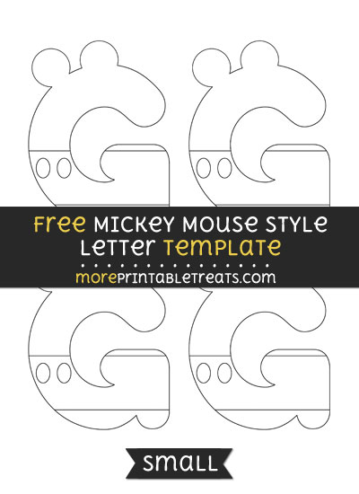 Free Mickey Mouse Style Letter G Template - Small