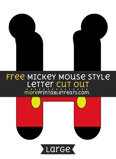 Free Mickey Mouse Style Letter H Cut Out - Large size printable
