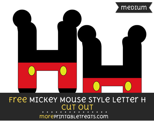 Free Mickey Mouse Style Letter H Cut Out - Medium Size Printable