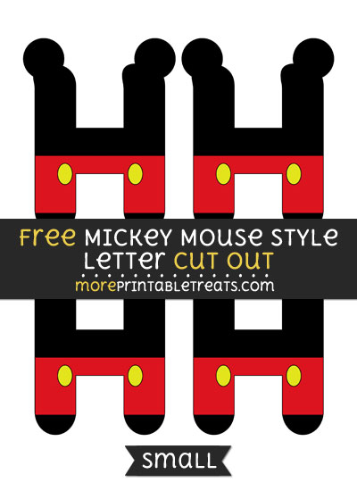 Free Mickey Mouse Style Letter H Cut Out - Small Size Printable