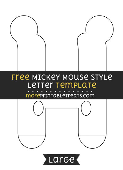 Free Mickey Mouse Style Letter H Template - Large