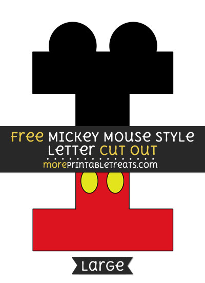 Free Mickey Mouse Style Letter I Cut Out - Large size printable