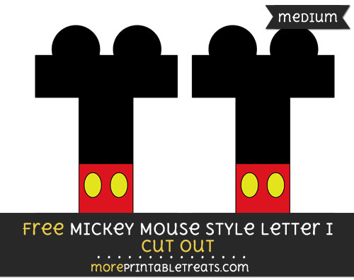 Free Mickey Mouse Style Letter I Cut Out - Medium Size Printable