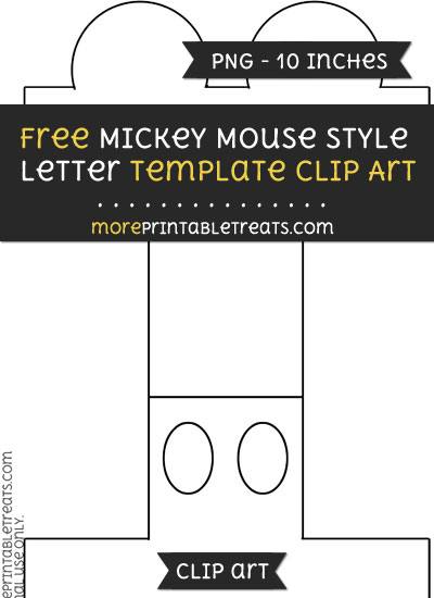 Free Mickey Mouse Style Letter I Template - Clipart