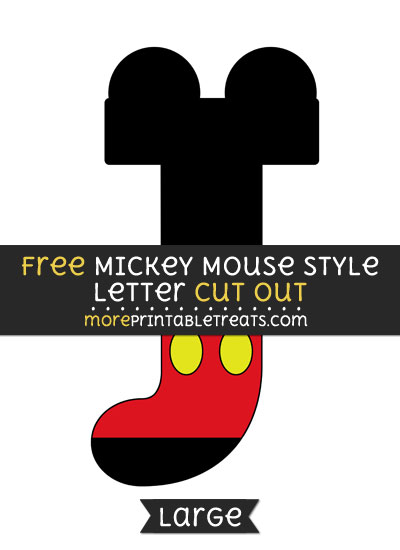 Free Mickey Mouse Style Letter J Cut Out - Large size printable