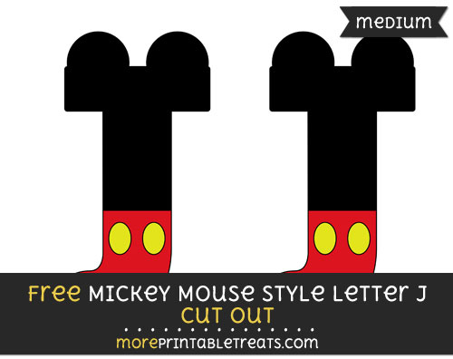 Free Mickey Mouse Style Letter J Cut Out - Medium Size Printable
