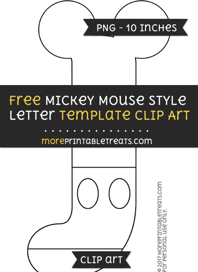 Free Mickey Mouse Style Letter J Template - Clipart