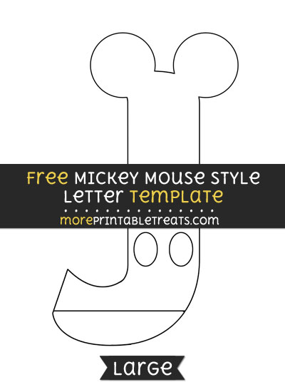 Free Mickey Mouse Style Letter J Template - Large