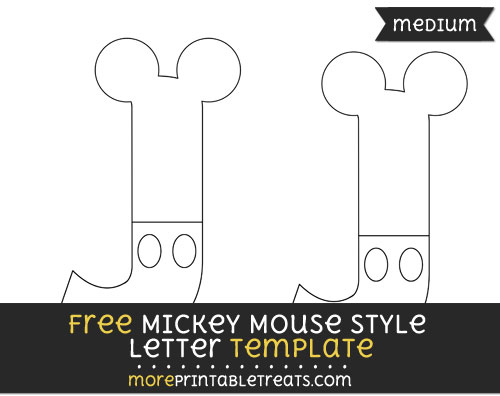 Free Mickey Mouse Style Letter J Template - Medium