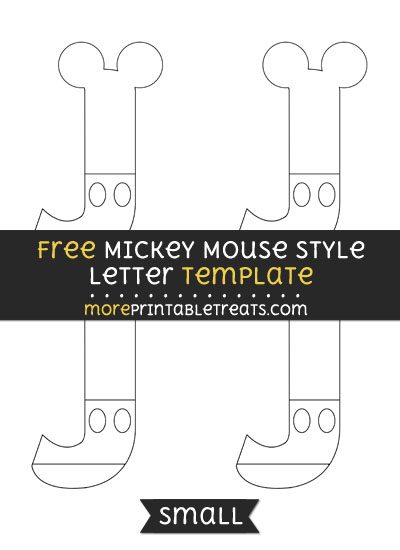 Free Mickey Mouse Style Letter J Template - Small