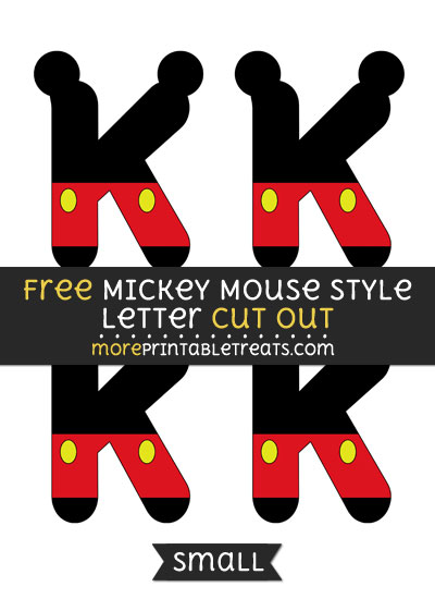 Free Mickey Mouse Style Letter K Cut Out - Small Size Printable