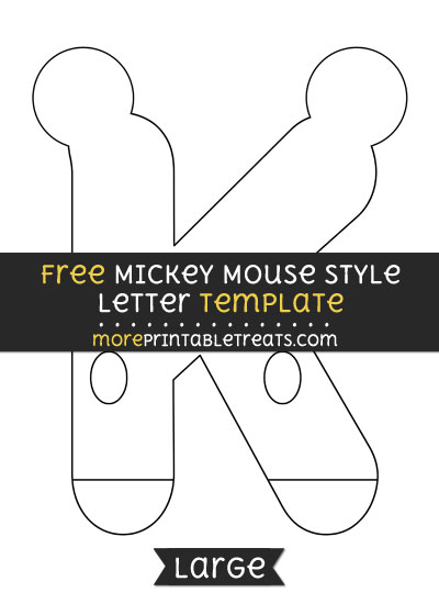 Free Mickey Mouse Style Letter K Template - Large