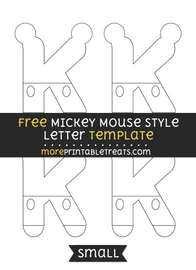 Free Mickey Mouse Style Letter K Template - Small