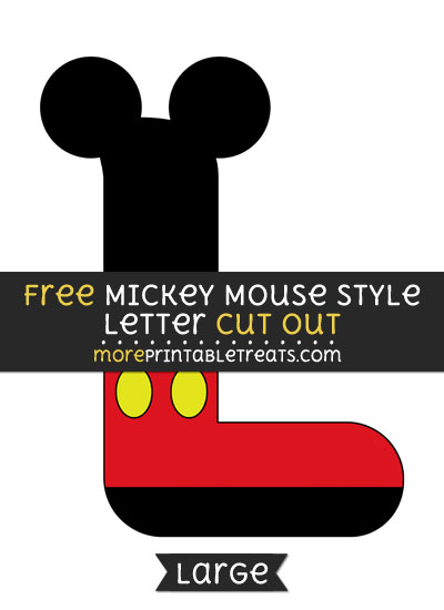 Free Mickey Mouse Style Letter L Cut Out - Large size printable
