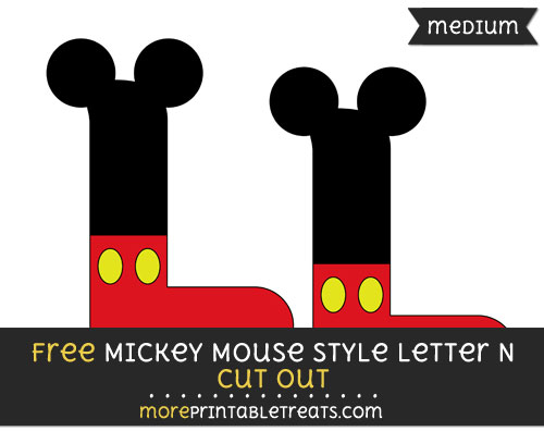 Free Mickey Mouse Style Letter L Cut Out - Medium Size Printable