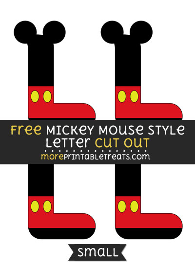 Free Mickey Mouse Style Letter L Cut Out - Small Size Printable