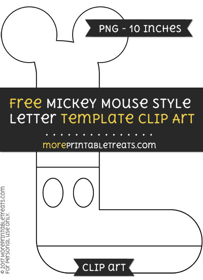 Free Mickey Mouse Style Letter L Template - Clipart