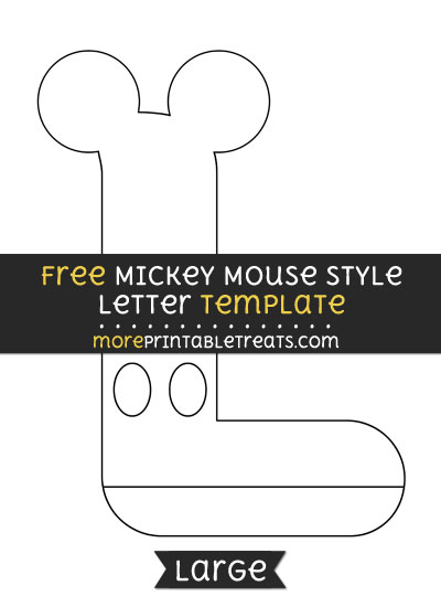 Free Mickey Mouse Style Letter L Template - Large
