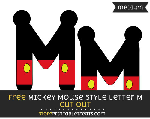 Free Mickey Mouse Style Letter M Cut Out - Medium Size Printable