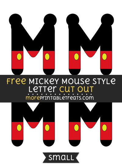 Free Mickey Mouse Style Letter M Cut Out - Small Size Printable