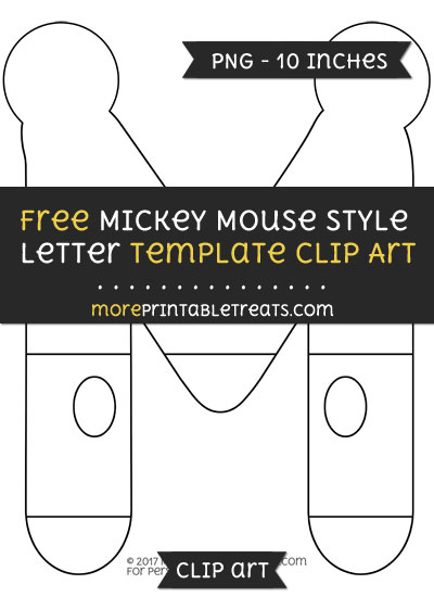 Free Mickey Mouse Style Letter M Template - Clipart