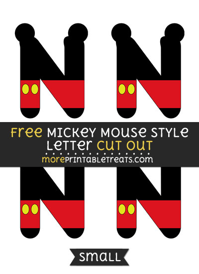 Free Mickey Mouse Style Letter N Cut Out - Small Size Printable