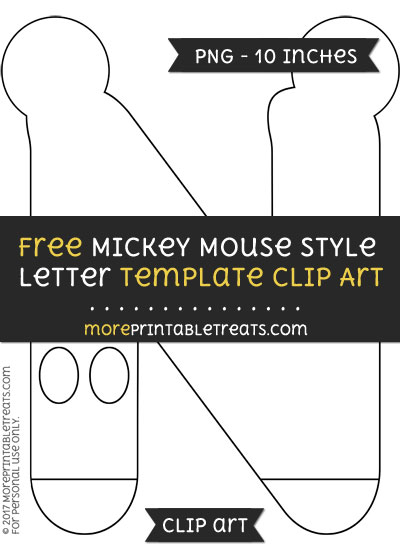 Free Mickey Mouse Style Letter N Template - Clipart