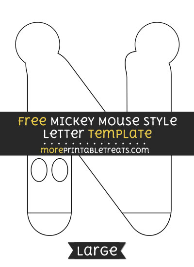 Free Mickey Mouse Style Letter N Template - Large