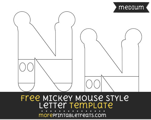 Free Mickey Mouse Style Letter N Template - Medium