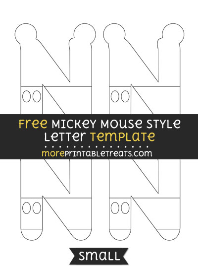 Free Mickey Mouse Style Letter N Template - Small