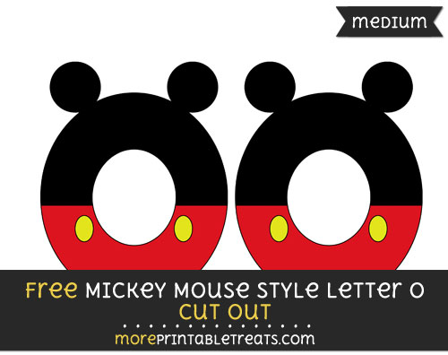 Free Mickey Mouse Style Letter O Cut Out - Medium Size Printable
