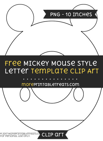 Free Mickey Mouse Style Letter O Template - Clipart