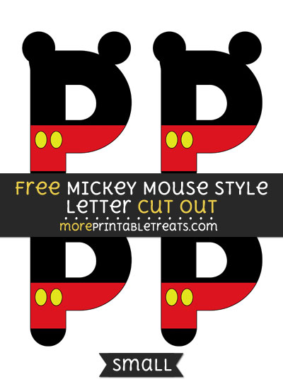 Free Mickey Mouse Style Letter P Cut Out - Small Size Printable