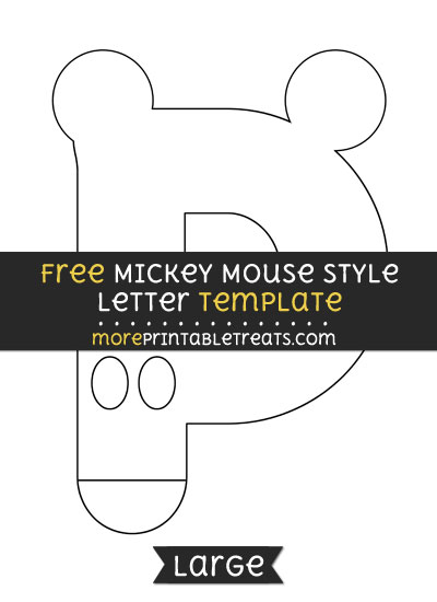 Free Mickey Mouse Style Letter P Template - Large