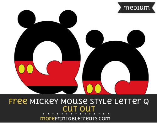 Free Mickey Mouse Style Letter Q Cut Out - Medium Size Printable