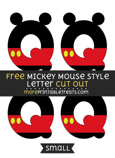 Free Mickey Mouse Style Letter Q Cut Out - Small Size Printable