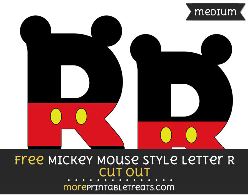 Free Mickey Mouse Style Letter R Cut Out - Medium Size Printable