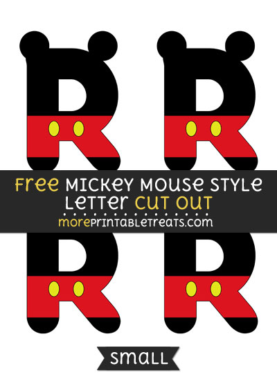 Free Mickey Mouse Style Letter R Cut Out - Small Size Printable